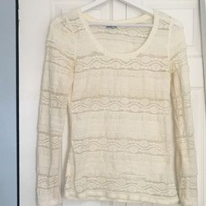 Ivory lace long sleeved scoop neck
